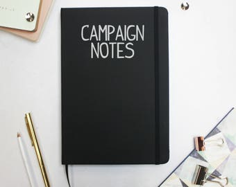 """Dungeons and Dragons """"Campaign Notes"""" Notebook - Black Notebook - DnD Accessories - DM Notes D&D"""