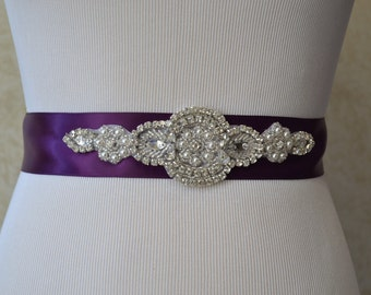 Eggplant Sash- Bridal Sash- Bridesmaid Sash -Wedding Sash-Custom  Colors Sash