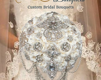 Brooch Bouquet, Cascading Brooch Bouquets, Elegant Brooch Bouquets, Full Price 375.00 &Up, Rush Orders Welcome, 150.00 Deposit, Made in USA