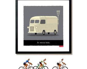 Tour de France, Broom Wagon, Cycling Art Print