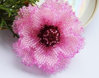 inspirational women gift Flower Brooch Pin Pink Brooch Statement Brooch Art Deco Brooch Beaded Brooch Pin Bohemian Jewelry Purple Brooch Pin
