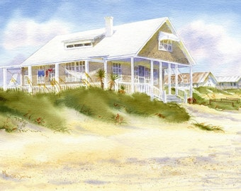 Summer Pleasures Revisited- Beach House Decor- Watercolor Painting