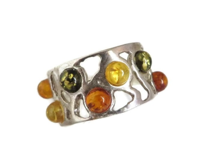 Sterling Silver Amber Ring, Vintage Green, Yellow, Orange Amber Stone Ring, Statement Ring