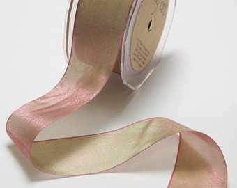 Woven Iridescent Fuchia/Sage Ribbon, 1 Inch Ribbon,  Iridescent Ribbon, May Arts Ribbon, Scapbooking, Hair Bows, Gift Bags, 6 Yards