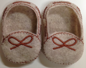 Tan Embroidered Moccasins for 18 inch Dolls