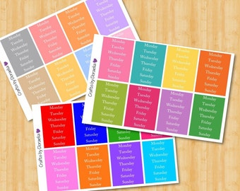 Days of the week stickers, Erin Condren stickers, DIY planner stickers