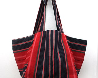 Cube Tote, Strawberry and Blue tote bag, Shopper tote bag, Medium tote bag, Striped tote bag, African strip cloth bag, Bag for life
