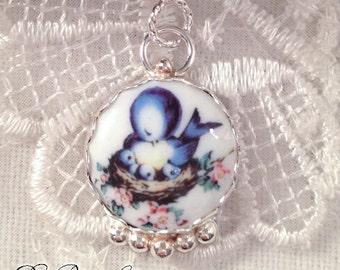 Momma Blue Bird Mom Baby Chicks Nest Sterling Silver Porcelain Image Charm Pendant