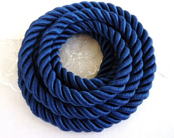 Navy Blue Satin Twisted Cord, Wrapped Thread Cord, Polyester Braided Rope Cord 9mm- 1 Yard/ 0,92m approx.(1 piece)