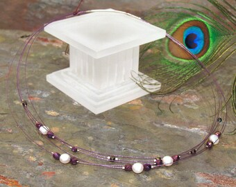 Necklace: Freshwater Pearls and Purple Crystal Tin-Cup Style Multi-Strand Short Necklace
