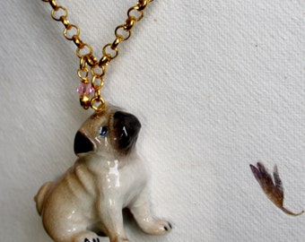 "Necklace ""Pug"" with pug pendant made of porcelain"