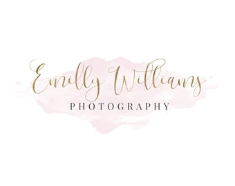 Photography Logo and Watermark, Rose Gold and Watercolor Initials Handwritten Calligraphy Script Font Logo Design 276