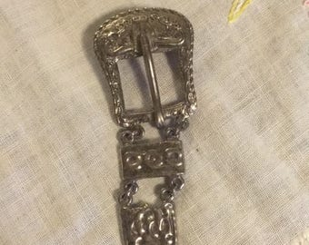 Vintage western belt buckle brooch