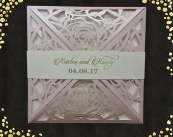 Laser Cut Wedding Invitations Square Wedding Die Cut Laser Cut Traditional Blush Shimmer Wedding Invites Laser Cut