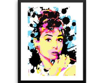 16 x 20 Audrey Hepburn Pop Art Print Wall Art Home Decor Framed
