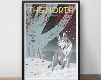 Retro Game of Thrones Travel Poster. TV Poster. The North. Fan Art