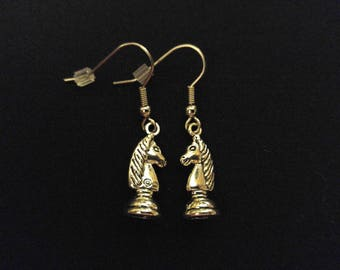 KNIGHT CHESS Charm Earrings Stainless Steel Ear Wire Silver Metal Unique Gift
