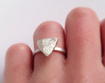 Triangle Ring - Alternative Engagement Ring - Unique Texture - Recycled Sterling Silver - Geometric Ring - Thin Silver Ring