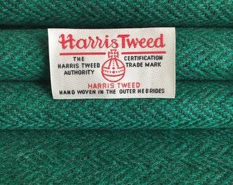 Green Herringbone, Harris Tweed, Fabric, 100% Wool,  With Authenticity Label
