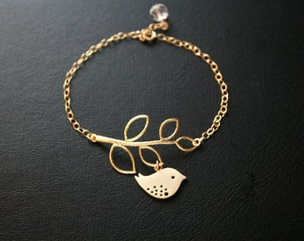 Bird Leaf branch Bracelet - Gold /Silver Delicate, Cute baby bird, Mom's Bracelet, Mother's Day, Birthday gift for wife, mom daughter sister