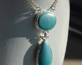 Turquoise Sterling Silver Necklace With Oval and Tear Drop Cut Stones, turquoise necklace, blue drop necklace, tear drop blue precious stone