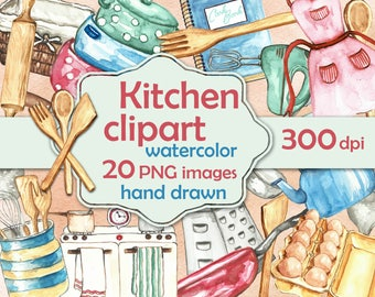 Kitchen clipart watercolor. Kitchen accessories clip art. Cook clipart hand drawn. Cook objects clipart printable. Kitchen items watercolor.
