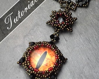 Eye of Sauron Necklace LOTR Inspired 4 Tutorial set, Dragon Eye Pendant, Bail, Earrings, Chain Step by Step with Diagrams Flame and Darkness