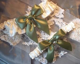 Sage Green Wedding Garter Set, Ivory with Sage Green Bow, Bridal Garter Set