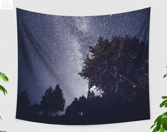 Starry Night Tapestry, Stars Wall Tapestry, Wanderlust Wall Tapestry, Space Tapestry, Milky Way Tapestry, Starry Forest Wall Tapestry, Indie