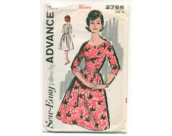 Vintage 1963 Dress Pattern, Rare Sewing Pattern Cute Day or Evening Fitted Bodice with Belt, Short or 3/4 Sleeves Scoop Neck Bust 36