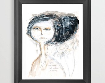Done and Undone. Watercolor. Inspritional Print. Abstract Woman