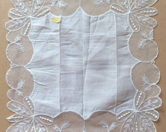 Dainty cotton vintage handkerchief with gorgeous net border, made in Austria