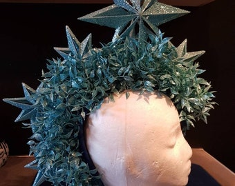 Mohican, headdress, headpiece, fascinator, star, blue, glitter, foliage
