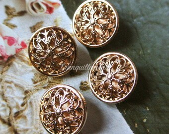 5 Small Retro Vintage Style Gold Golden Floral Flower Military Jacket Coat Sweater Metal Button 0.8 Inches / 2 cm