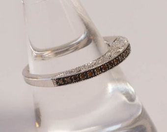 Red Diamond Wedding Ring, Vintage Sterling Silver,  Red and White Diamond Band