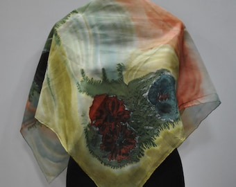 Vintage HANDMADE silk scarf , hand dyed scarf , hand rolled ....(704)
