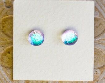 Dichroic Glass Earrings , Petite, Silver/Green DGE-1414