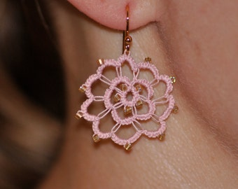 Hand Tatted Pink Flower Earrings with Golden Accents