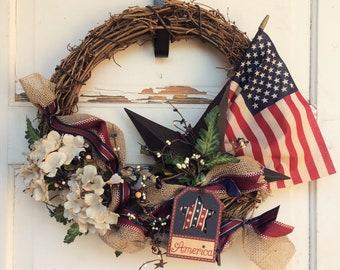 AG Designs Patriotic Decor - Grapevine Lighted Garland & Wreath Set