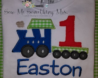 SALE!!! Train Birthday Shirt or Onesie. Custom. Embroidery. Choo Choo!