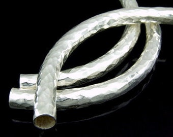 KS-034 thai karen hill tribe silver 1 huge hammered curved tube bead