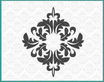 CLN0102 Damask Leaf Monogram Frame Initial Frames Fancy SVG DXF Ai Eps PNG Vector Instant Download Commercial Cut Files Cricut SIhouette