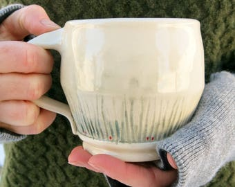 Handmade Ceramic Mug, Coffee Mug, Pottery Mug, Tea Mug, White and Green Textured One of a Kind Cup, Artisan Pottery by Licia Lucas Pfadt