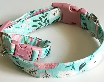 Aqua and Pink Floral Collar with Matching Adjustable Friendship Charm Bracelet