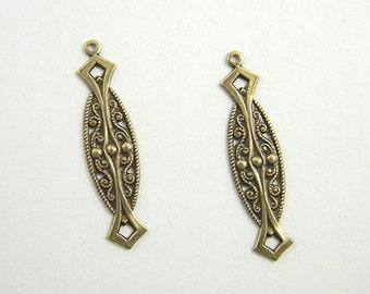 6 pcs., Antiqued Brass Charm, Earring Dangle, Brass Connector, Art Nouveau Pendant, Brass Stamping, 9mm x 35mm - (b134)