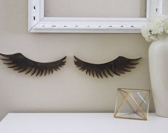 Wood Eyelashes Cutout/ Salon Decor/ Eyelashes girl decor