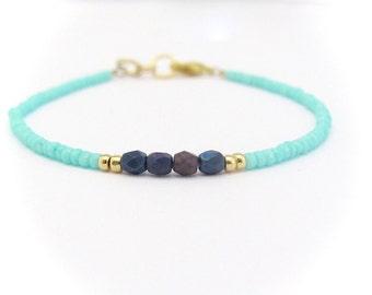 Aqua Blue Bracelet, Seed Bead Bracelet, Beaded Bracelet, Friendship Bracelet, Tiny Bracelet, Turquoise, Gold Plated Bracelet, Turquoise Blue