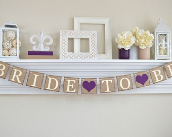 Bridal Shower, Bride To Be Banner, Bridal Shower Banner, Bachelorette Party, Rustic Bridal Shower, Bridal Shower Decor, Plum Purple