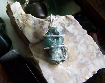 Raw Emerald Gemstone Silver Wire Wrapped Necklace