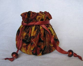 Fabric Jewelry Tote - Medium Size - Drawstring Pouch - Bag - FALL FOREST